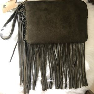 Street Level Suede Trim Fringe Clutch/Wristlet